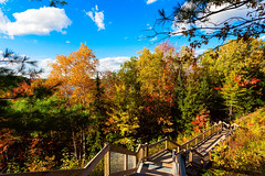 242 steps down to the Au Sable 2016 (hz536n/George Thomas) Tags: 2016 canon5d cs5 ef1740mmf4lusm fall trees sky michigan upnorth stairs lumbermansmonument october canon color copyright
