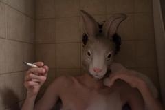 Never on Time (Taran W) Tags: bathroom tiles people portrait portraiture hand cigarette face rabbit bunny mask