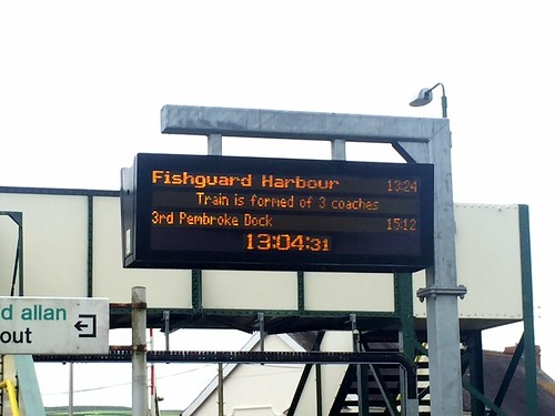 Dot matrix sign at Whitland railway station