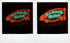 Baker's Ribs Neon (tobysx70) Tags: the impossible project tip polaroid slr680 frankenroid sx70 door rollers film for 600 type cameras instant impossaroid roidweek roid week polaroidweek fall autumn october 2016 reject baker's ribs main street deep ellum dallas texas tx pig green orange red neon sign lit illuminated night nocturnal bokeh outoffocus oof diptych barbecue bbq restaurant polacon2016 polaconone 093016 toby hancock photography