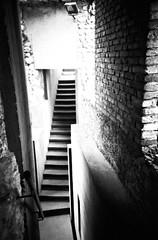 Stairway (UrbaceousSentiment) Tags: treppe stairs verona italia italy italien lomo lca schwarzweis bw monochrome pushed diafilm slide film analog analogue vignetting vignettierung