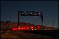 10 days... (golden_state_rails) Tags: union pacific southern santa fe up sp atsf bnsf searchlight uss switch signal mojave bridge mp377 377 tehachapi pass night