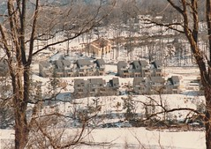 NEW CONDOS ACROSS THE CREEK IN 1987 (richie 59) Tags: ulstercountyny ulstercounty newyorkstate newyork unitedstates winter townofesopusny townofesopus richie59 creek america outside constructionarea constructionsite rondoutcreek newbuildings construction newconstruction oldphotograph olddays oldphoto film photoscan 1980s feb151987 feb1987 1987 35mmfilm 35mm filmcamera connellyny connelly hudsonvalley midhudsonvalley midhudson nystate ny trees snow ice buildings woodenbuildings hill condominims condos kingstonny kingston rondoutny rondout downtown downtownkingstonny downtownkingston