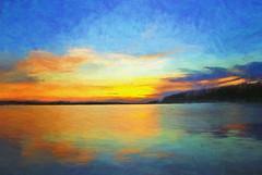 Lake Uljaste at Sunset (Kalev Vask.) Tags: digital kalevvask postprocessed on1 topazimpression estonia photomanipulation digiart photoart painterly artistic creative uljaste lake sunset summer