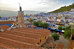 On the top of Masjid at main square (T Ξ Ξ J Ξ) Tags: morocco chefchaouen sefasawan d750 nikkor teeje nikon2470mmf28 blue city kasbah