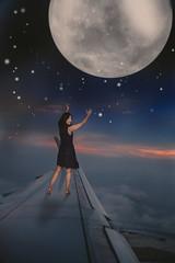 124/365 Supermoon (itskatrinayu) Tags: supermoon moon self portrait windowseat airplane nightsky surreal 365 conceptual night