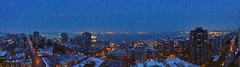 Pano: Morning blue hour reveals snow even at sealevel (+3) (peggyhr) Tags: peggyhr panorama snow bluehour urban harbour cityscape vancouver bc canada series