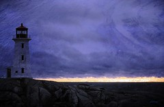 Lighthouse Low Beam (photo fiddler) Tags: lighthouse peggyscove manipulated november 2016 windy