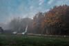 Cricket ground, clearing mist (Briggate.com) Tags: leeds mist misty alwoodley cricketground dogwalker cars autumn fujix100s fuji x100t