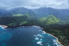 Hanalei Bay (Adam Claeys) Tags: beach hawaii kauai hanalei bay river ocean shore jurassic garden isle island coast aerial helicopter heli high sky water air trees mountain clouds tropical pacific valley waves sea