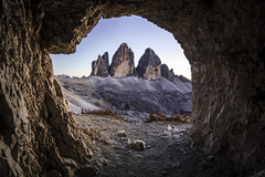 Three in Range (Frederic Huber | Photography) Tags: 1124 1635 2470 70200 landschaft canoneos5dsr eos fotodiox frederichuber freearc landscape photography wonderpana wwwfrederichubercom drei zinnen tre cime lavaredo dolomites dolomiten south tyrol sdtirol tirol mountain berge alpine first world ware cave hhle italy italien italia three sunset sunrise le long exposure htte gebirge alps alpen grey grau blue blau pov autumn fall 2016 frederic huber alto adige