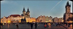 Old Town Square | Altstdter Ring - Panorama, Prague, CZ (Andr-DD) Tags: prague praha prag tschechischerepublik hauptstadt europa europe goldenestadt goldencity wolken clouds himmel cloud wolke stadt city esk republika outdoor architecture czechrepublic altstadt oldtownsquare townsquare starmsto staromstsknmst churchofourlady janhusmemorial janhus memorial statue churchofstnicolas townhall rathaus altstdterring teynkirche kirche church palaiskinsky