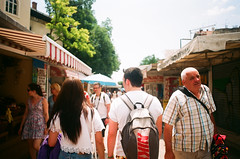 Remembering Croatia #1 (Corey Holt.) Tags: friends boy summer vacation holiday film me girl 35mm walking back pentax market croatia sunny super split selling throwback remembering traders