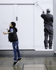 Boy Jumping (stevedexteruk) Tags: street city uk boy london westminster shop store jumping energy child pavement billboard hoarding oxford vodafone 2015