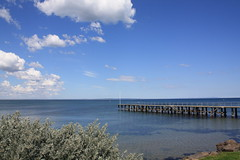 Bayside Jetty (kayla.jaide) Tags: ocean wood old travel blue sunset sea sky cloud seascape cold green nature water clouds relax landscape harbor pier wooden haze alone peace view wind outdoor path jetty horizon peaceful scene calm pole deck shore serenity lonely relaxation tranquil