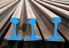 Derailed (Doris Burfind) Tags: railroad blue abstract metal train rust rails