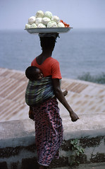 Sierra Leone 1979-80 Freetown Street Trader selling cabbages & Tomatoes, with baby on her back (mani-media) Tags: people for book aerial sierra business infrastructure summit pr leone healthcare 197980 oau