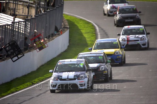 Aaron Thompson leads the pack in the Fiesta Junior Championship, Brands Hatch, 2015