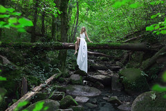 Elusive (Jesse Gourgeon) Tags: white france green water girl beautiful leaves forest river spirit spy blonde elusive glimpse blondehair pure nymph beautifulgirl deadtrees brenizer