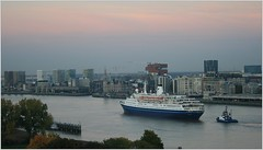 Cruise Ship MS Marco Polo ...  Cruise & Maritime Voyages.   Departure. (Aquarius15) Tags: cruise autumn trees sunset sky water skyline architecture clouds boats waves belgium ships antwerp departure cruisemaritimevoyages riverthescheldt cruiseshipmsmarcopolo