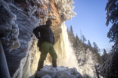 Moraine Falls  Thunder Bay, Ontario (Day Vid Z / ASCENSION Photography) Tags: morning trees winter portrait snow ontario canada man cold male ice beautiful sunrise river spectacular landscape outdoors frozen waterfall amazing perfect photographer awesome north hike adventure journey flowing epic thunderbay selfie outdoorsman