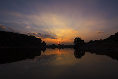 Sunset over Agatsya lake (Vamshi Krishna S) Tags: lake badami chalukya sunsetpoint aghatsya
