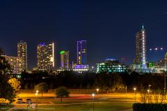 Austin Skyline (OscarAmos) Tags: skyline architecture night austin downtown neon texas townlake lighttrails hdr lightroom 18200mm photomatix detailenhancer topazadjust nikond7200