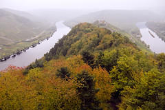 The Double Moselle (parkerbernd) Tags: autumn trees castle colors leaves fog river germany lumix haze nebel alf double explore outlook viewpoint burg mosel zell moselle bullay marienburg gx1