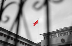 China (Saw NaJah) Tags: flag china city street mood black white red culture art