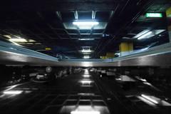Parking, Madrid (OCNaftanaila) Tags: reflection inverse inverted parking madrid spain canon light black white byn