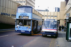 A meeting of rivals (SelmerOrSelnec) Tags: citibus leyland atlantean eastlancs udt190s gmbuses mcw metrorider f667yog loan westmidlandstravel manchester cannonstreet arndale bus minibus southyorkshirepte