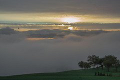 DAWN / ALBA (OTTOBRE 2016) (MY SECRET WINDOW) Tags: aurora daybreak break day crack dawn sunrise first light daylight thing morning early cockcrow north american sunup literary dawning peep dayspring alba cielo sky sunshine cloud nuvole tramonto arancione orange panorama landscape paesaggio nuvoloso montagne collina hill mountain allaperto nuvola sole sun giallo yellow green tree calma fog nebbia