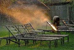 . (me*voil) Tags: namibia lodge chairs sprinkler golden waterfromtheriver
