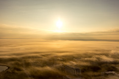 SunRise Above the clouds (luckeycat) Tags: regina morning dystopia dystopian balloon flight hot air clouds fog thin sunrise silhouette luckeyphoto luckeycat downtown cyqr yqr saskatchewan canada fall autumn canon lightroom sky nice warm day sun building office shadow above remax imapilot rise warmth river water wascana low orange yellow wonderous wondrous 6d cityscape city scape