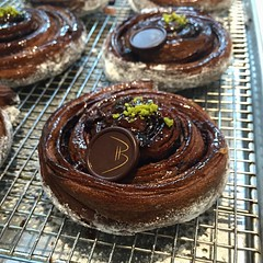 Bachour's new double chocolate Spiral Danish with chefs @sandrodiez @karinarc_5 #amazing #bachour #bachourchocolate