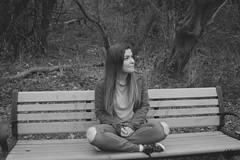 Sarah (YasmineMoghimiPhotography) Tags: woman girl bench people nature blackandwhite forrest ravine bw grey greyscale photography portrait canada ontartio toronto
