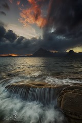 Flowover (Dave Brightwell) Tags: sunset seascape isleofskye elgol scotland scotsspirit cuillins mountains sea loch rocks clouds sky competition vote