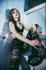 Coming Down (junkyard.of.creation) Tags: grunge heroin chic coming down abstract fashion girls black lace blue eyes canon 5d markii nineties revival bathroom flash artificial strobe rock roll portrait bralette wet look mirror choker