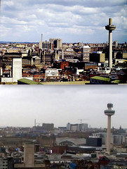 View from the Liver Building,1980s and 2016 6 (Keithjones84) Tags: liverpool merseyside history localhistory thenandnow rephotography liverbuilding royalliverbuilding