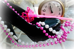 The Right Shoes Can Change Your Life (Jules (Instagram = @photo_vamp)) Tags: midnight shoe heels beads wand clock magicwand necklace cinderella fairytales photochallenge