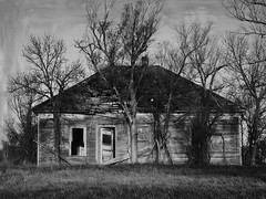 Surrounded by volunteers (jimsawthat) Tags: studley kansas highplains ghosttown blackandwhite enhanced decay residence abandoned