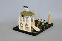 Lr Teilien (jsnyder002) Tags: lego creation moc landscape elvish fantasy archery tournament range pavilion roof railing balcony pathway cheese mosaic target arch avalonian goh ccc