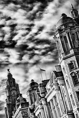 waterfront buildings in Liverpool (khrawlings) Tags: clouds liver liverpool building waterfront blackandwhite bw monochrome angle architecture