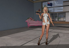 Anyone for a drink? (Lisa Lowan) Tags: secondlife blonde wine waitress cowboyboots cowgirlboots
