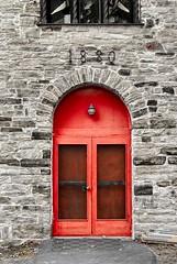 The Red Door (Karen_Chappell) Tags: red door building architecture travel quebec montebello bricks stone brick