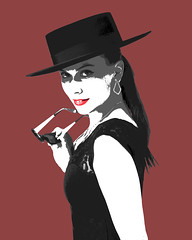 Tyna (Rob King Photography) Tags: art woman graphic design nikon d800e stylized style sexy fashion poster posterized red lips stare hats hat sunglasses unnies shade shades dark hair hot canada cute classy photoshop