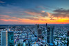 Frankfurt at sunset (CrashOpa) Tags: city longexposure sunset urban sun night germany deutschland frankfurt bahnhof highrise goldenhour