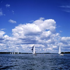 Downwind to the Mark (JBAdams) Tags: ©jbajonathanbarrettadams 220film ektachromee100g hasselblad500elm merriconeagyachtingassociation mya zeiss8028planar hasselblad sailing sailboat yacht regatta sky clouds cloudsstormssunsetssunrises sea seascape film analog manualfocus availablelight ambientlight 6x6 6x6only squareformat mediumformat maine harpswellsound itsnotacapture jonathanbadamscom