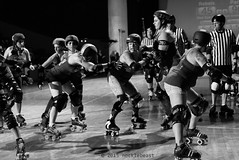 rebels_vs_panic_L1063689 1 (nocklebeast) Tags: ca usa santacruz rollerderby rollergirls zombies vampires skates organicpanic santacruzderbygirls redwoodrebels