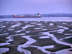 Mersey Dusk (Ebb Tide) (Maggie's Camera) Tags: light sunset colour water clouds river dusk mersey